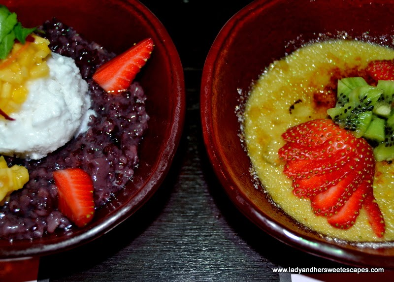 Chop Suey restaurant's black sticky rice and green tea creme brulee