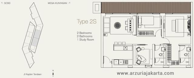 Tipe 2S Apartemen Arzuria Jakarta Selatan