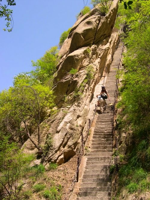 the beautiful stairs of Mt. Hua Shan is very daunting