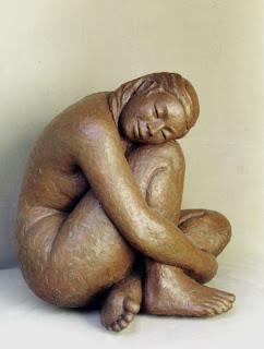 Style figuratif : Femme nue assise, pudique