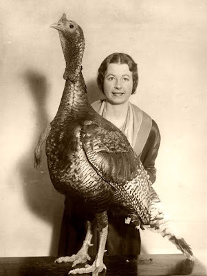 vintage lady with turkey