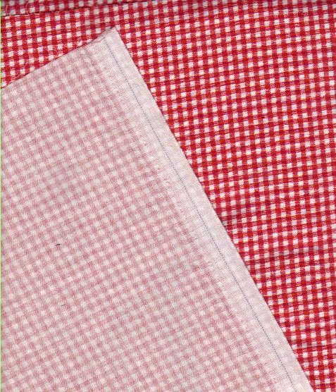 Red printed fabric with checks not suitable for quilts
