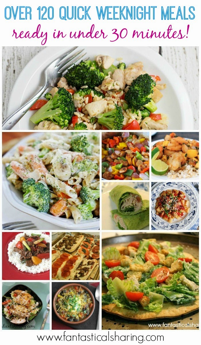 Over 120 Quick Weeknight Meals {Ready in under 30 minutes!} | Busy nights don't have to mean takeout anymore! Check out these recipes for meals that can be on your table lickity split! #recipes