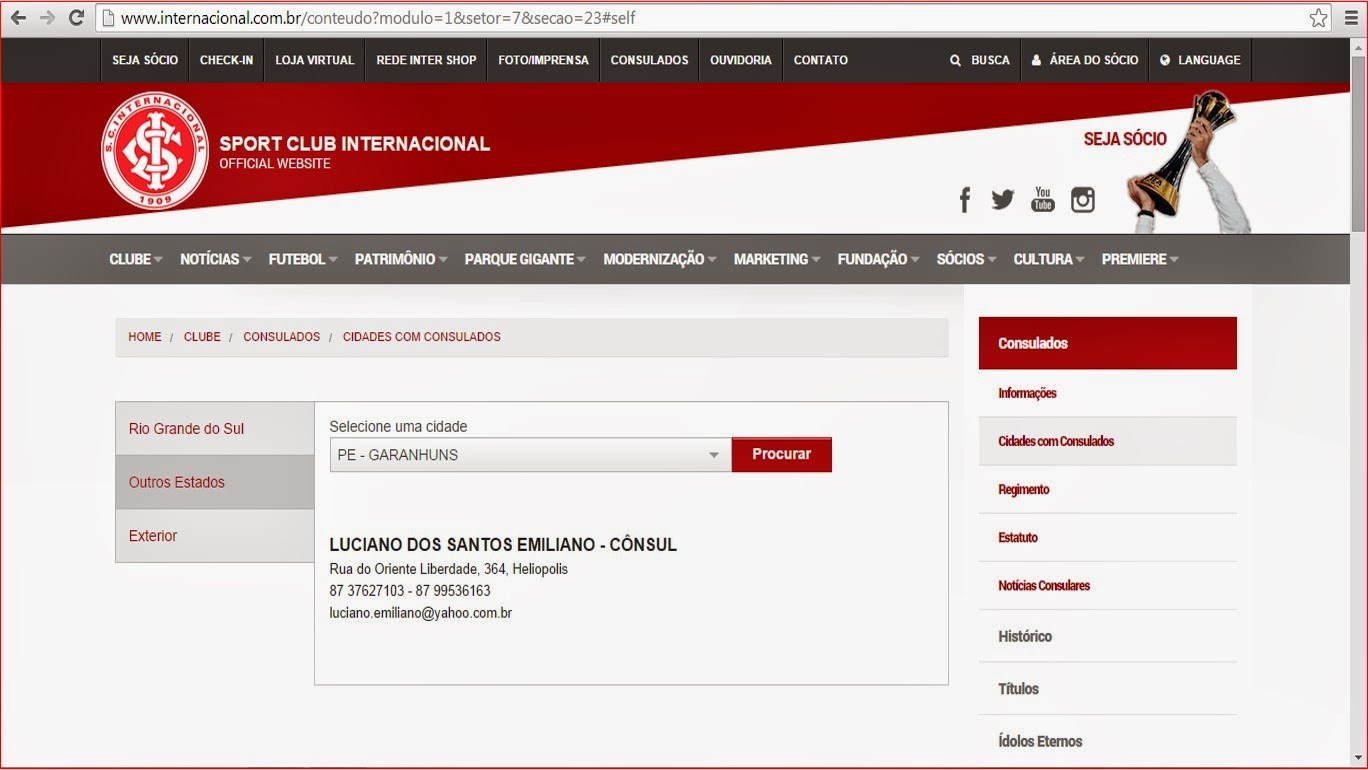 NO SITE OFICIAL DO INTER