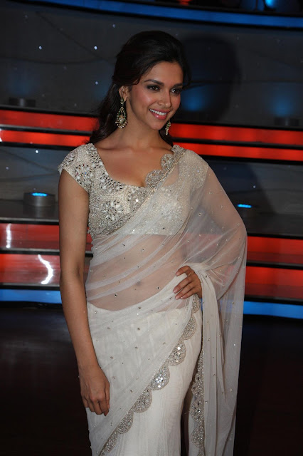 Bollywood Actress Deepika Padukone White Transparent Saree Photos