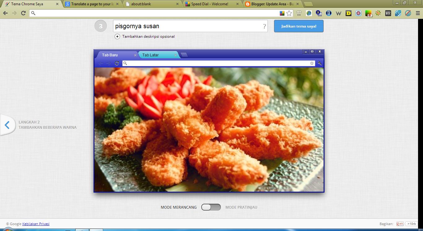 ... tampilan google Chrom gue... nih liat aja Cara Membuat Tema Di Google