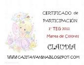 Mi certificado por haber participado en el TEG DE VANINA♥