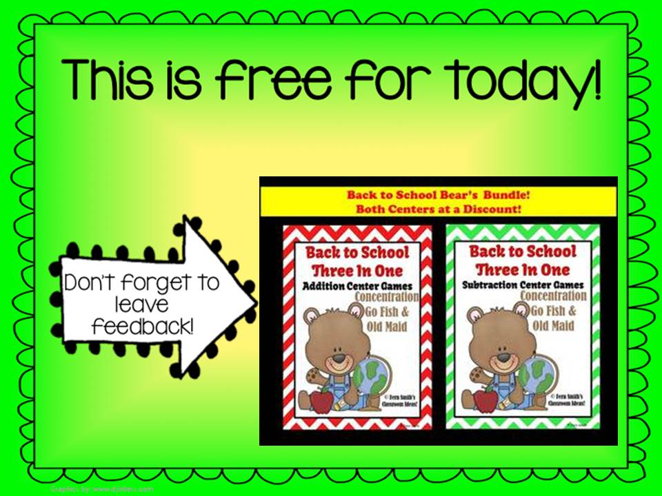 Fern Smith's Classroom Ideas Terrific Throwback Thursday FREEBIES - Jump into Summer with Addition and Subtraction Back to School Teddy Bear Centers