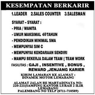 Loker DINAMIK MOTOR LAMABANG Palembang