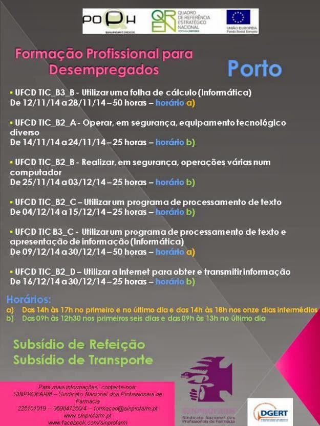 Formação gratuita para desempregados no Porto