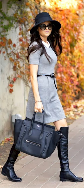 Grey Belt Dress