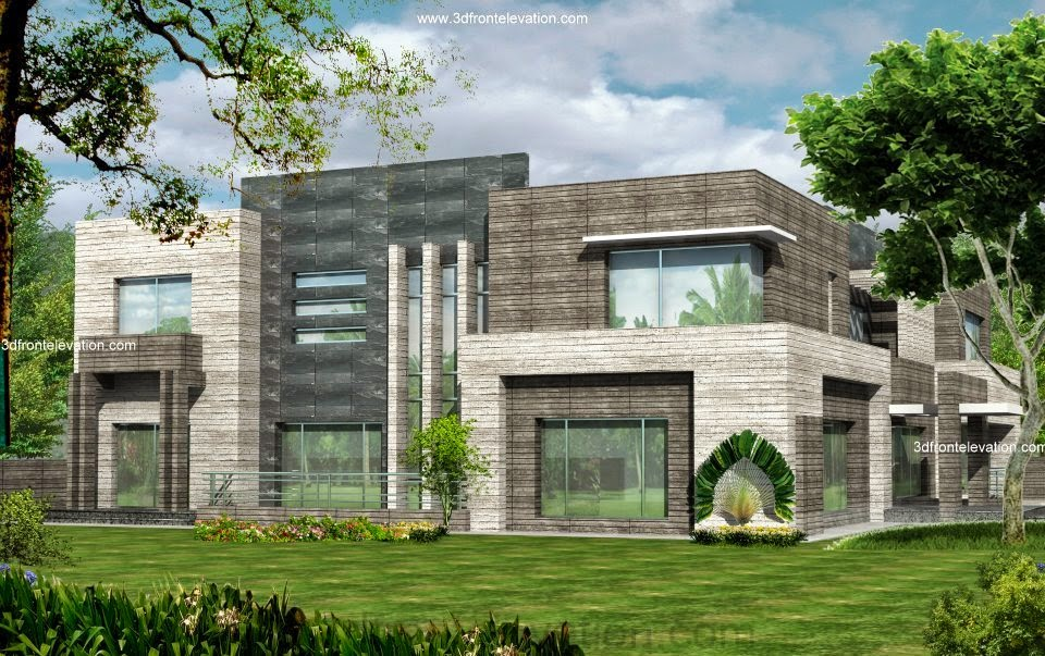 3D Front Elevation Karachi 2 kanal Modern Contemporary