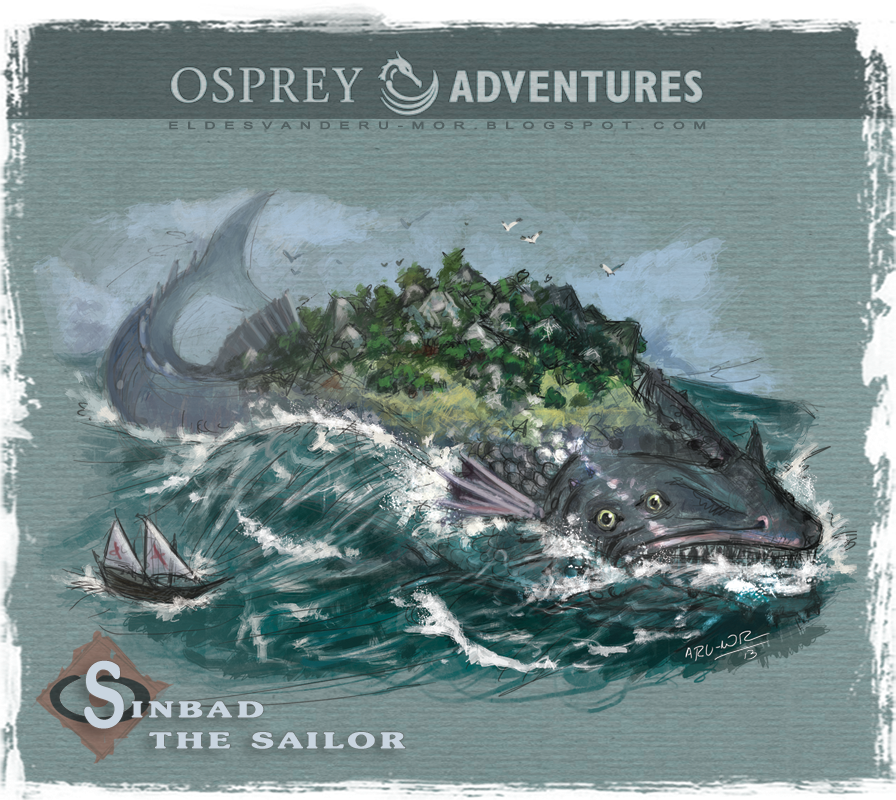 Concept art or sketch of the big fish-isle of the first voyage of Sinbad illustrated by RU-MOR for OSPREY Publishing
