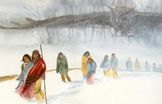 painting of Indians walking the Trail of Tears