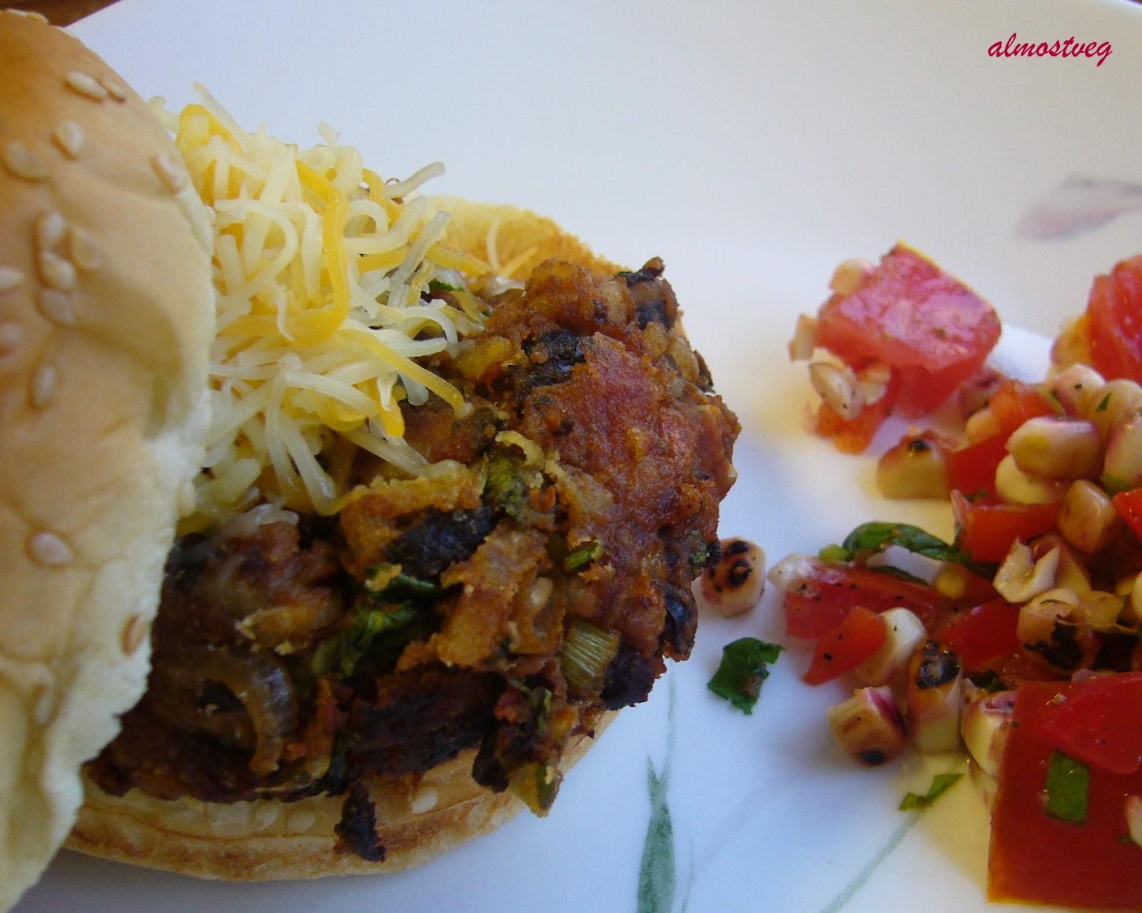 almostveg: Black bean and brown rice burger