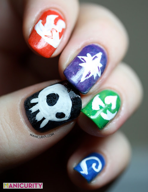 Manicurity | The Digit-al Dozen Does it AGAIN: Geeks! with Skylander Giants Elemental Powers Nail Art