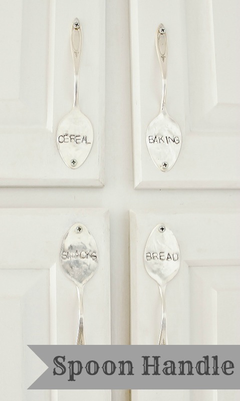Stamped spoon handles for cabinets by Thistlewood Farms featured on I Love That Junk