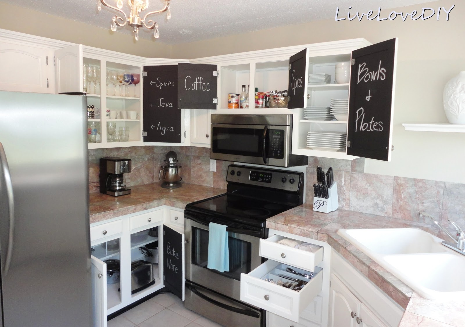 Livelovediy creative ways to update your kitchen using paint for Painting kitchen cabinets