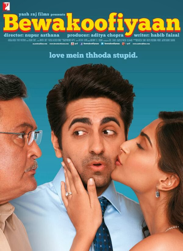 Sonam Kapoor kissing Ayushmann Khurrana in front of her father Rishi Kapoor in Bewakoofiyaan movie still
