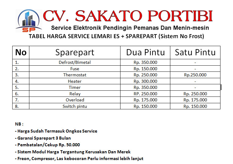 Daftar Harga Service Kulkas No Fros