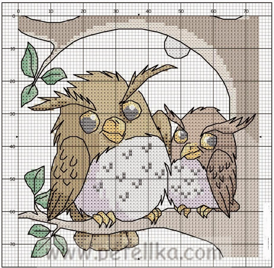 Прикольные совы схемы вышивки