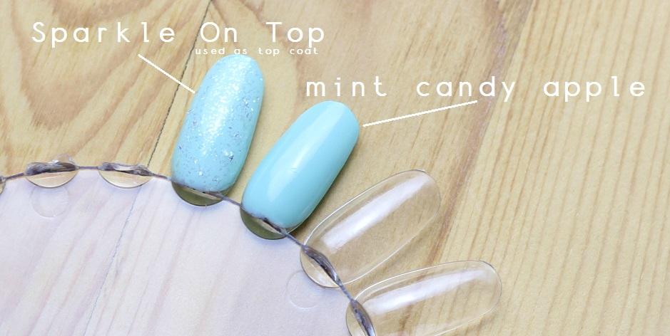 Mint Green Polish Glitter Nail