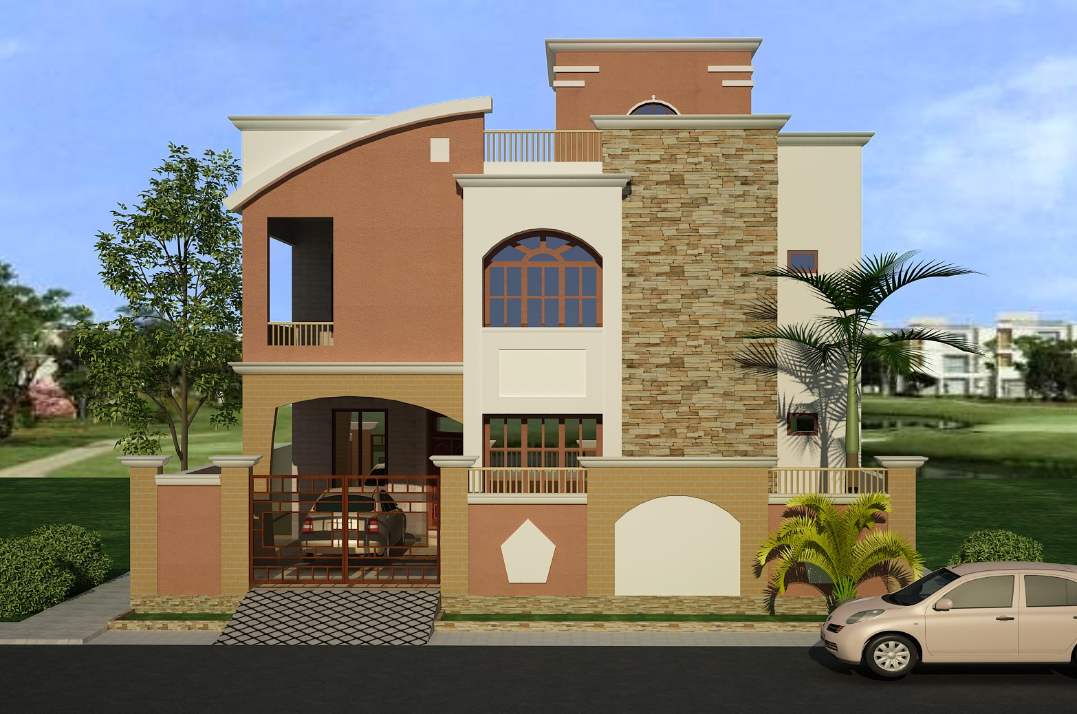 3d front elevation 1 kinal corner plot house design in islamabad - Front Home Designs