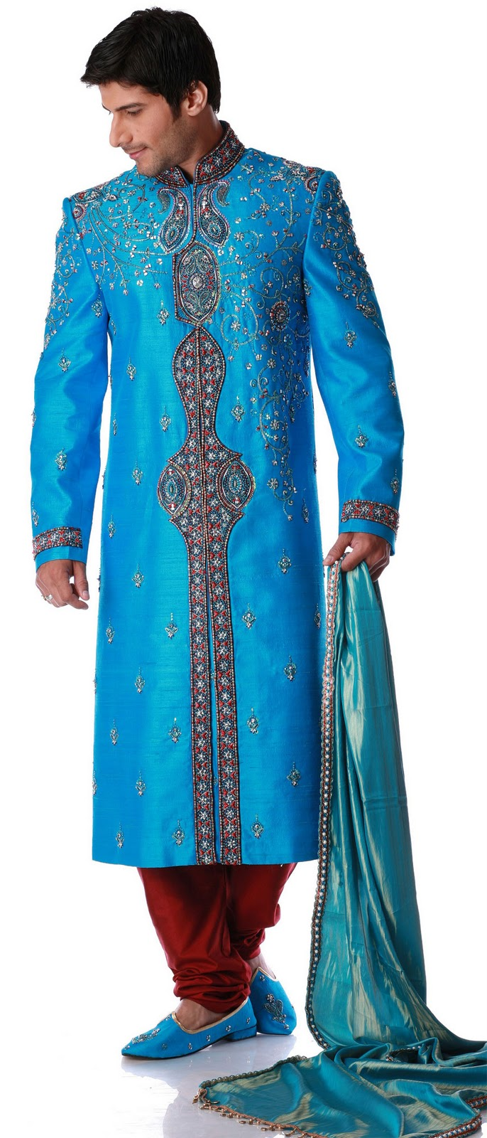 Men Fashion Dresses: Blue Sherwani with Embroidered - Wedding ...