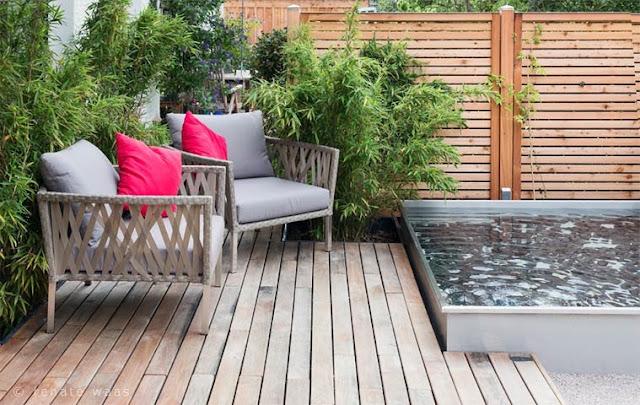 Moderner Garten, japanische Elemente, Wasserbecken, Edelstahlbecken, Wasserbecken aus Edelstahl