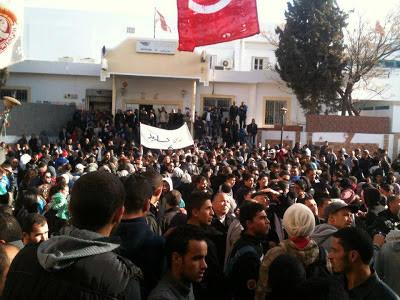 Première photo de la manifestation de Kasserine