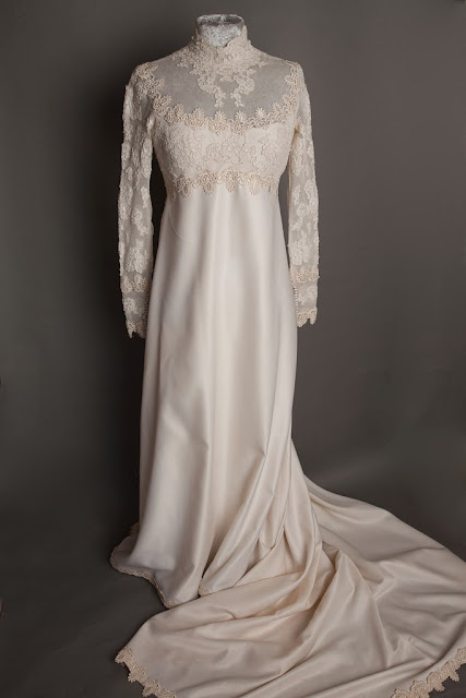 1960s vintage wedding dress by Priscilla, full length with train
