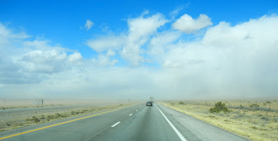Driving into a dust cloud