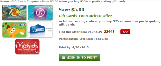 FoodLion catalina: $5 OYNO with $25 gift card purchase (select cards)