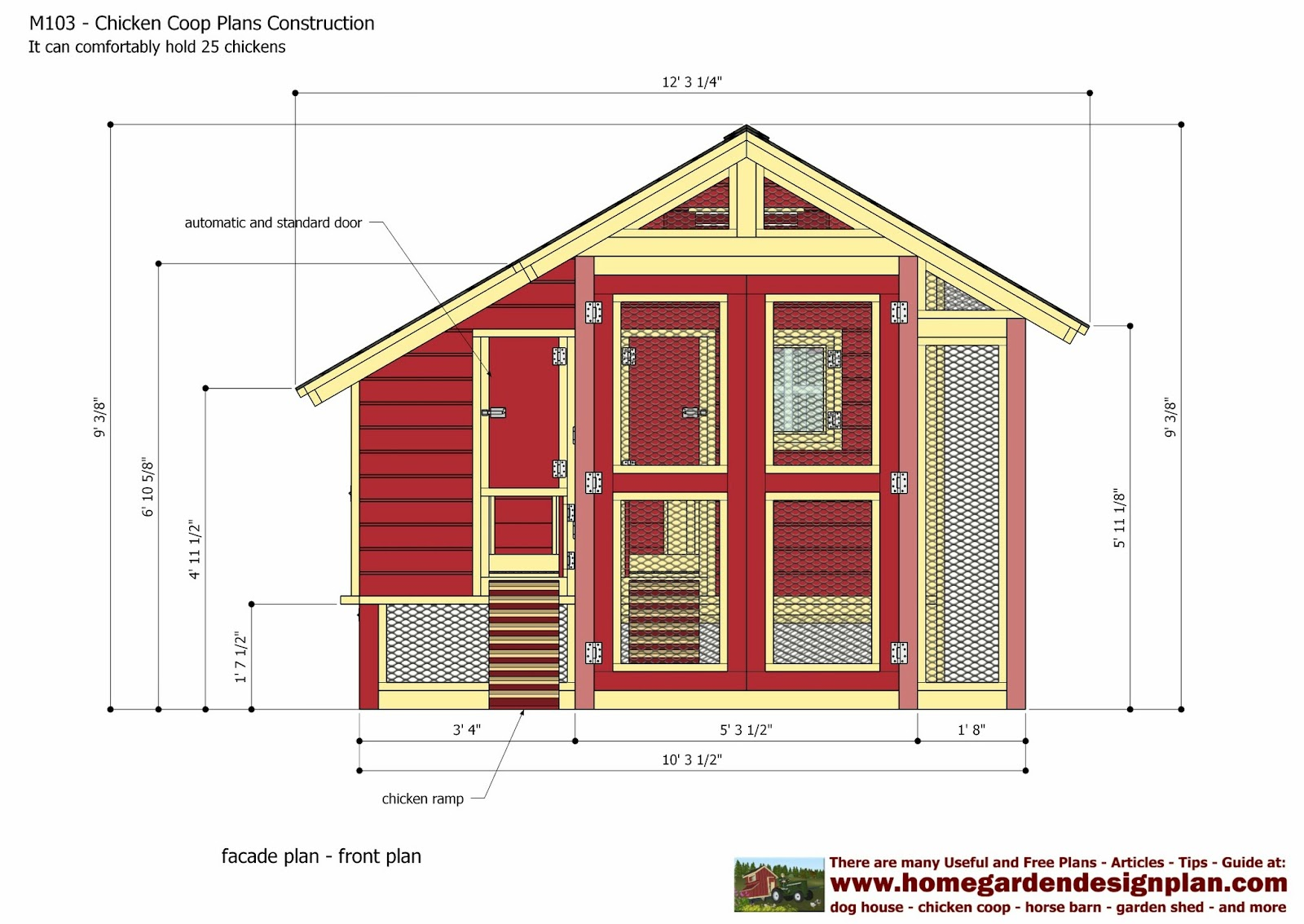 Home garden plans m103 chicken coop plans construction for Chicken coop size for 6 chickens