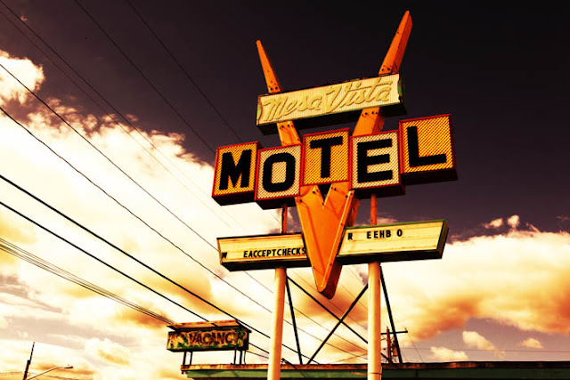 The abandoned Mesa Vista Motel sign and No Vacancy sign in Raton, New Mexico.