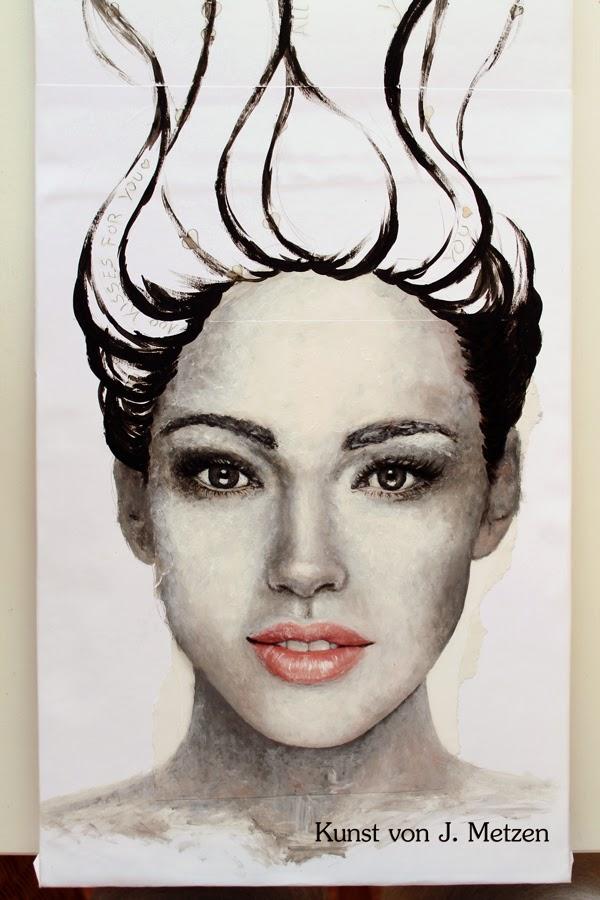 Collage Frauenportrait Acrylfarbe Aquarell Kunst von Jasmin Metzen