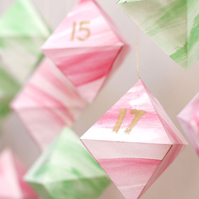 Watercolor Geometric Advent Calendar (with printable template)