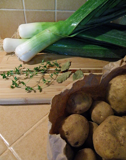 Leeks, Potatoes, Thyme, and Bay Leaves