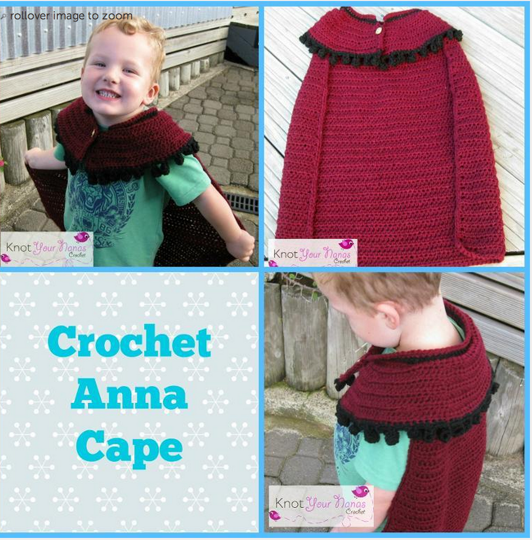 Crochet! Free Frozen Anna Cape Pattern-Inspired by Disney fits age 4 and up Kawartha Kids will love this