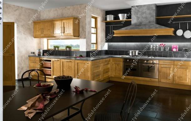 Stylish French Style Kitchen Designs with wooden cabinets for stylishly houses
