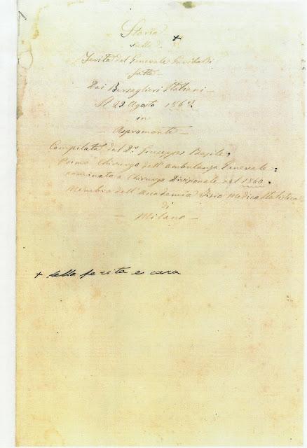 """Stralcio del manoscritto della """"Storia della ferita del Generale Garibaldi"""" compilata dal Dr. G. Basile (n° inv. A6)"""