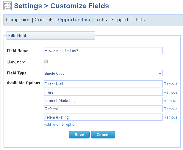 Custom field with multiple single options