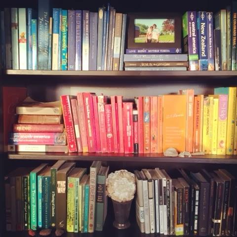 Decorating, Rainbow, Books, Bookshelf, color-coded, Denver, Colorado