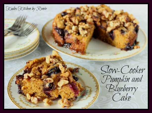 Pumpkin and Blueberry Cake cooks in the slow cooker with maple syrup and butter.