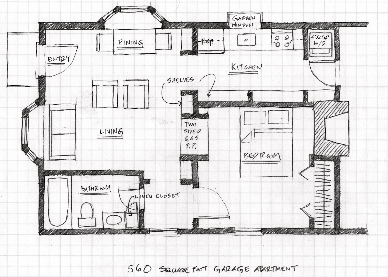 Floor plan for 560 square foot garage apartment.