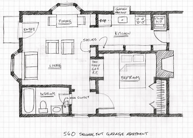 Small scale homes floor plans for garage to apartment for Garage apartment blueprints