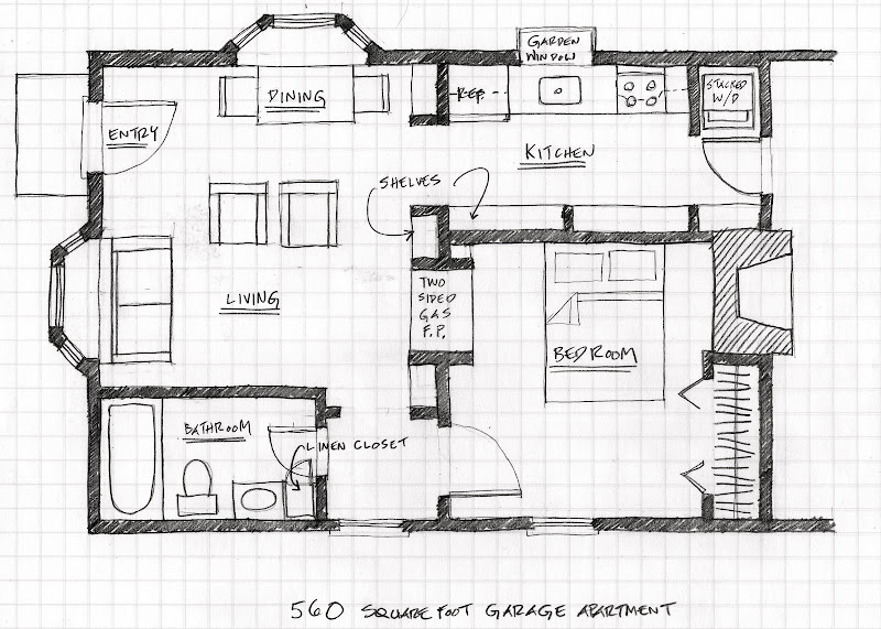 Floor plan for 560 square foot garage apartment. title=