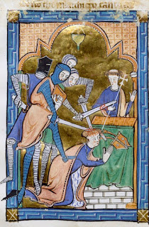 Detail from an English psalter showing the martyrdom of Thomas Becket.