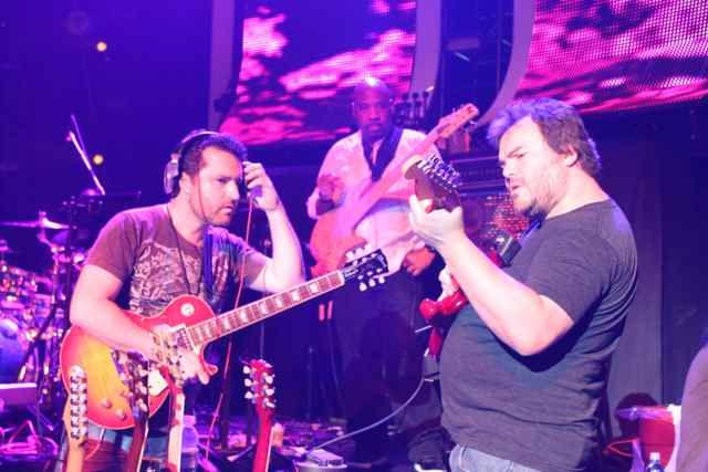 American Idol Guitarist Tony Pulizzi with Jack-Black during the finale
