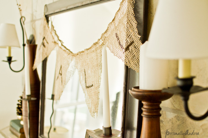 Fall Mantel | No-Sew Fall Burlap Banner | Burlap, Twine, Craft Paint | personallyandrea.com